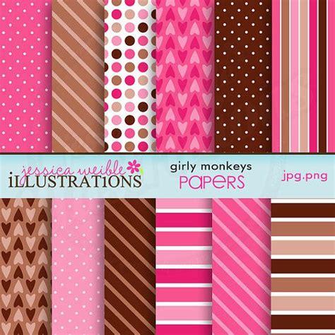 match girly monkeys cute digital papers