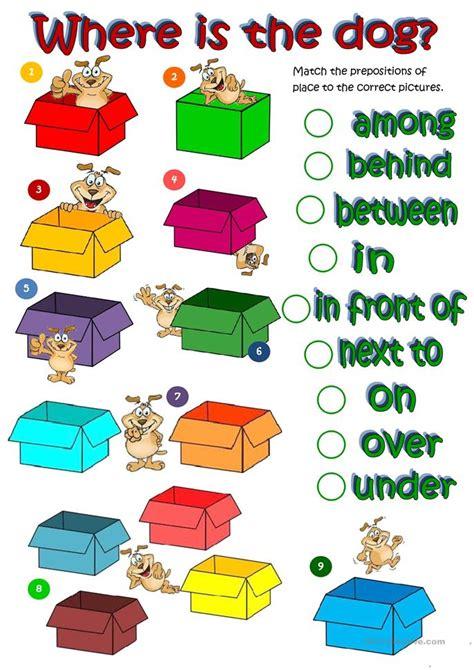 esl prepositions worksheets