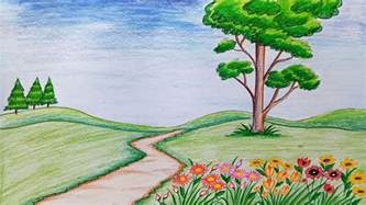 how to draw scenery of flower garden step by step