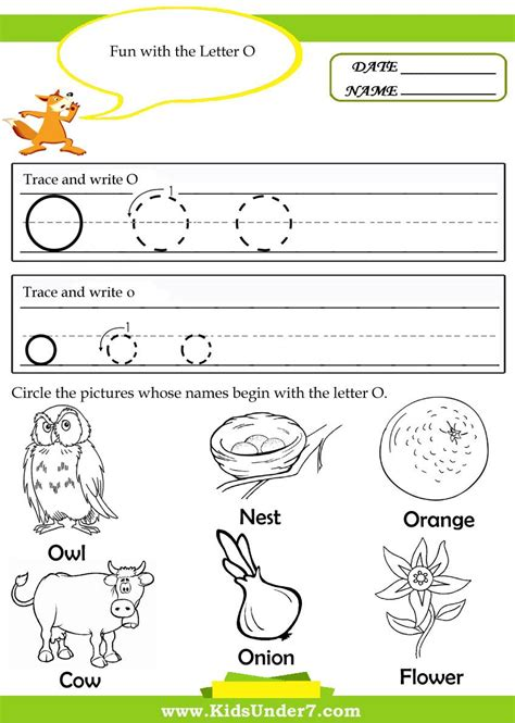 kindergarten worksheets for the letter o search