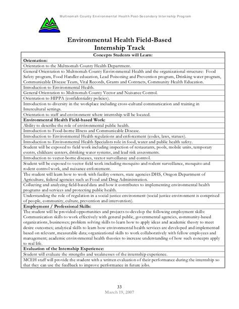 Environmental Health Workforce Development Post Secondary