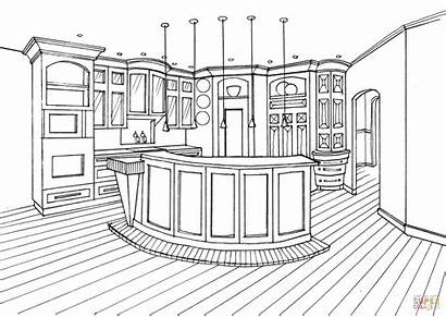 Coloring Kitchen Bar Counter Pages Drawing Printable