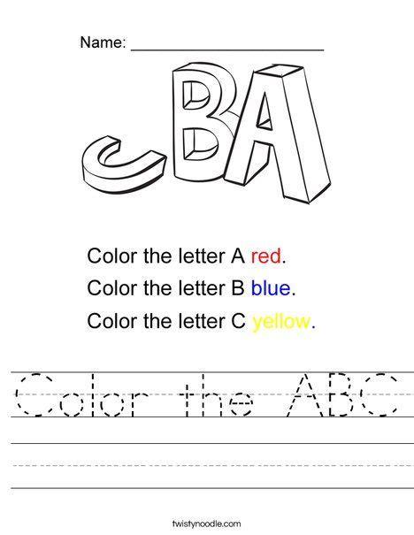 color  abc worksheet twisty noodle  images