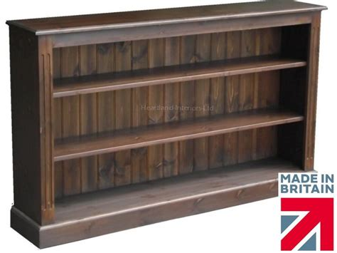 Low Wide Bookcase by Low Solid Pine Bookcase 5ft Wide Handcrafted Oak
