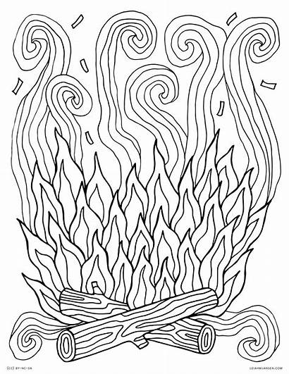 Coloring Campfire Fire Pages Printable Adults Smoke