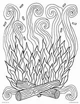 Coloring Campfire Fire Pages Printable Smoke Adults Camp Log Spring Try sketch template