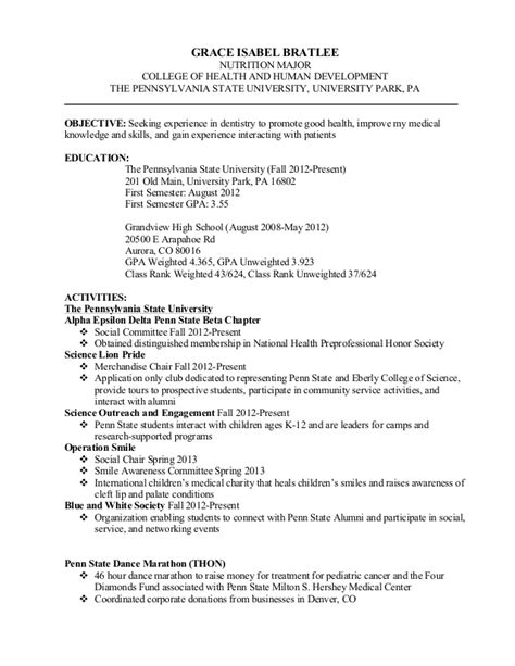 School Resume Gpa by Resume Grace Bratlee 2
