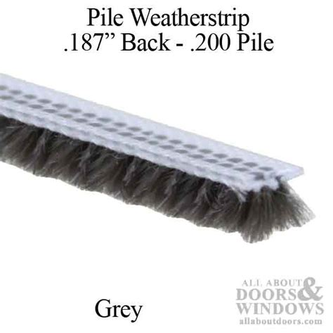 weatherstrip 187 backing x 200 pile t slot fin seal gray