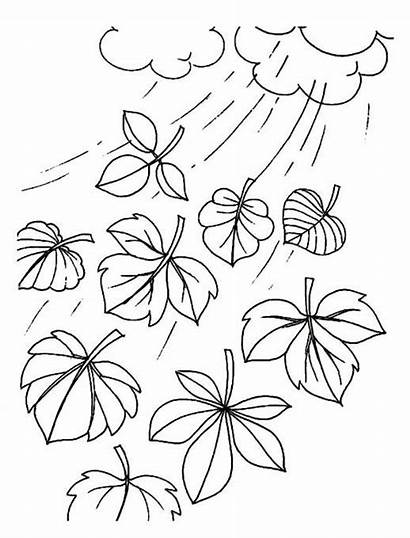 Coloring Pages Leaves Wind Flying Colouring Windy