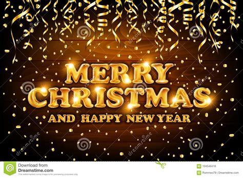 Gold Merry Christmas And Happy New Year Wood Background