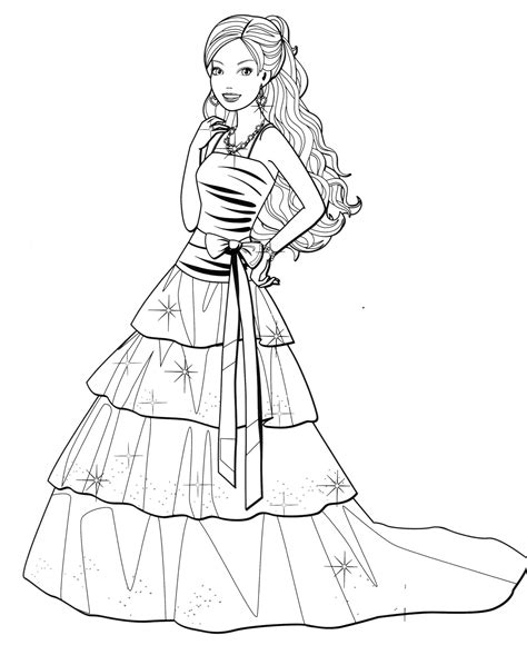34 Barbie Dresses Coloring Pages Printable Wedding Dress