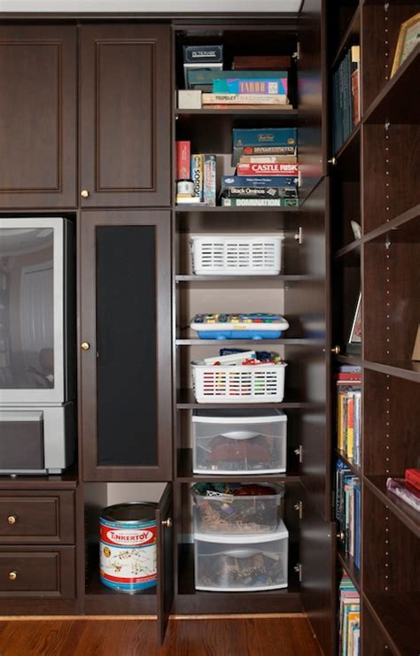built in media cabinet transitional living room