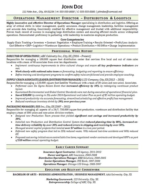 warehouse manager resume exle distribution logistics