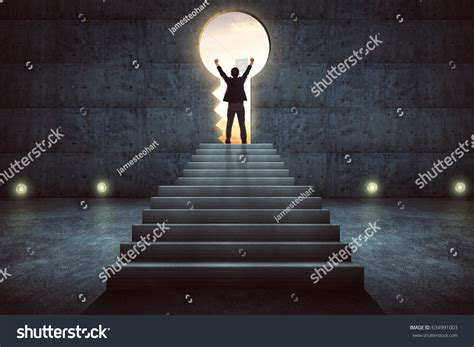 success businessman cheering  stair  concrete