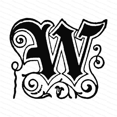 ornamental penwork initial letter  vector clipart vintage victorian capital letter  fancy