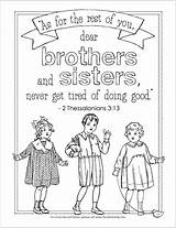 Coloring Pages Sibling Doing Sisters Siblings Brothers National Grow Thessalonians Tired Bible Don Today Never Printable Flandersfamily Info Adult Brother sketch template