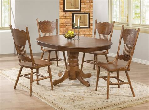 country dining room sets 5 pc country oak wood dining room set pedestal base 18 quot leaf 104261 contemporary dining sets