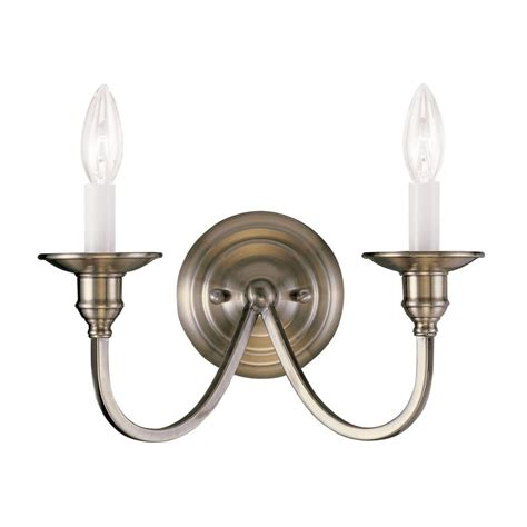 shop livex lighting cranford 13 in w 2 light antique brass candle wall sconce at lowes com