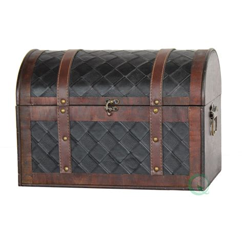 quickway imports wooden leather treasure chest reviews wayfair