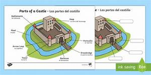 Labeled Diagram Of A Castle Display Poster English  Spanish