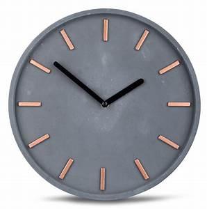 Hochwertige Beton Uhr Wanduhr In Grau Kupfer Uhrzeit