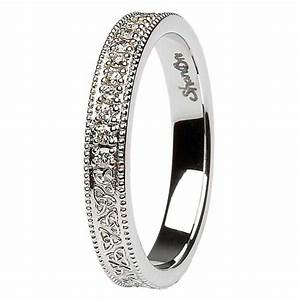 celtic trinity knot diamond set 14k white gold wedding ring With trinity knot wedding ring