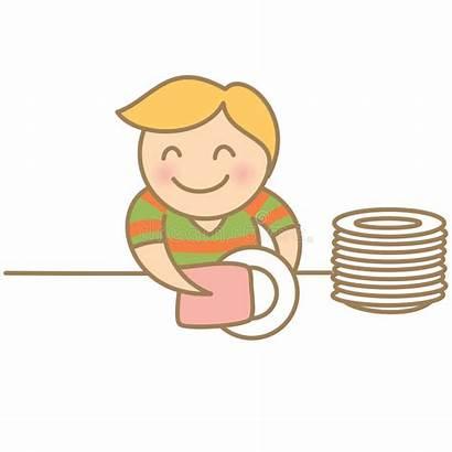 Dishes Drying Boy Platos Clipart Secar Schotels