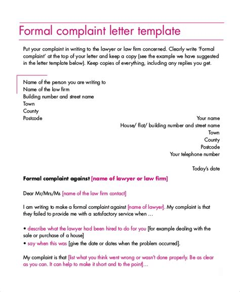 sample complaint letter  examples   word