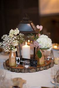 Rustic, Lantern, And, Tree, Trunk, Centerpieces