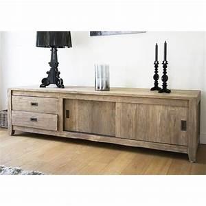 Meuble Tv 180 Cm : meuble tv teck recycle 180cm 2 portes couliss achat vente meuble tv meuble tv teck ~ Teatrodelosmanantiales.com Idées de Décoration
