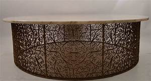 Extra large circular wrought iron and marble table for for Extra large marble coffee table