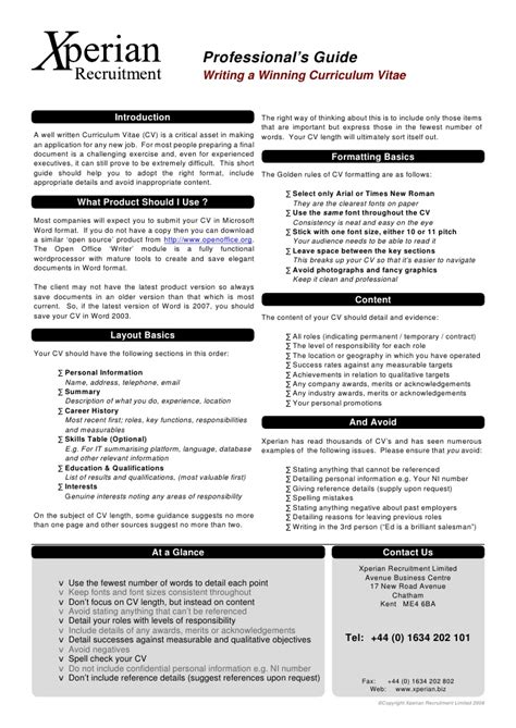 Cv Guide by Writing A Winning Cv