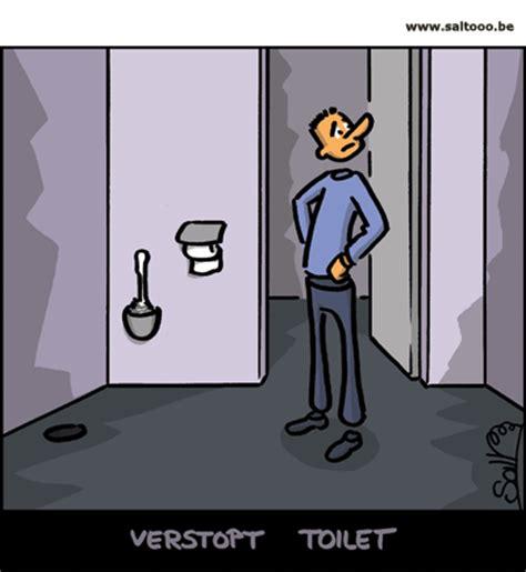 wc verstopt niets helpt cartoon help het toilet is verstopt