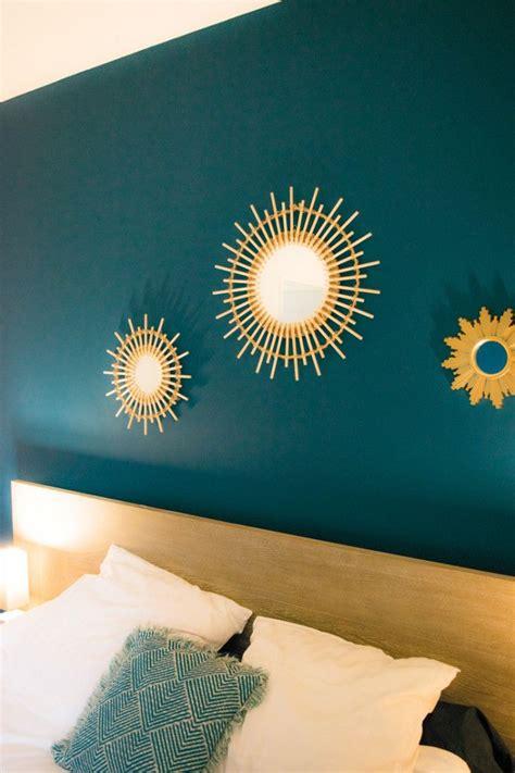 deco salon tete de lit peinture bleu canard chambre