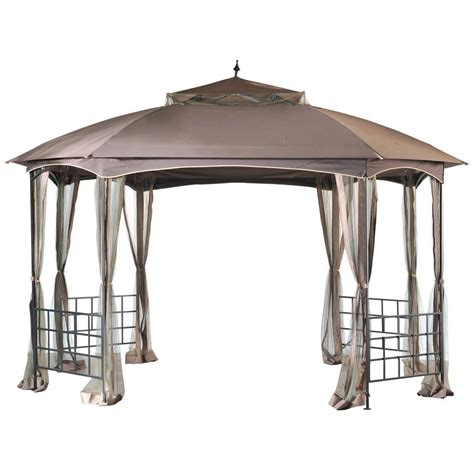 sunjoy gazebo sunjoy cardiff 12 ft x 10 ft steel fabric gazebo l gz660pst the home depot