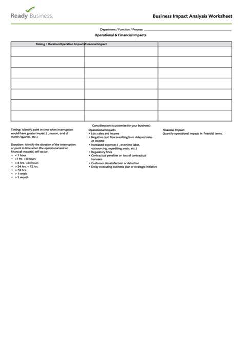 business impact analysis worksheet template printable