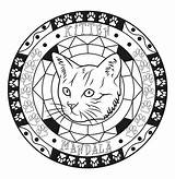Coloring Cat Mandala Cats Simple Pages Head Animals sketch template