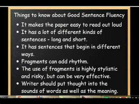 writing traits sentence fluency youtube