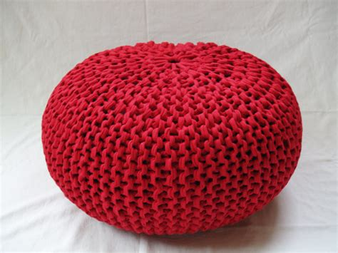 knitted pouf ottoman by helaska contemporary