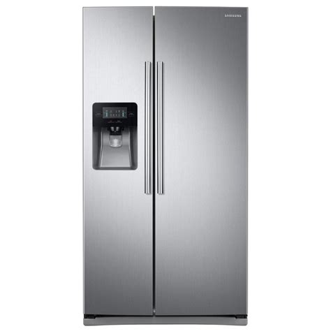 samsung side by side samsung 24 5 cu ft side by side refrigerator in stainless steel rs25j500dsr the home depot