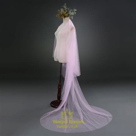 One Tier Pink Simple Drop Chapel Length Bridal Veil With