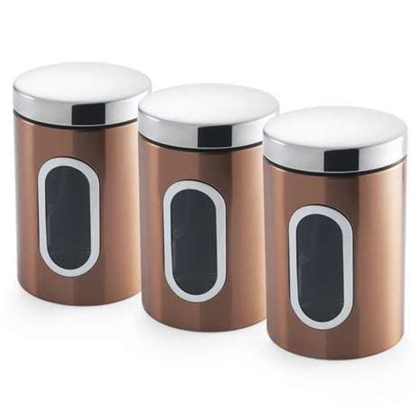 dunelm kitchen storage addis deluxe copper set of 3 canisters dunelm 3483