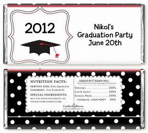 Graduation cap black red personalized graduation party for Free printable graduation candy bar wrappers templates