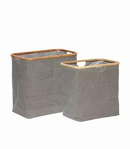 Panier à Linge Bambou : set de 2 paniers linge en tissu gris et bambou ~ Teatrodelosmanantiales.com Idées de Décoration