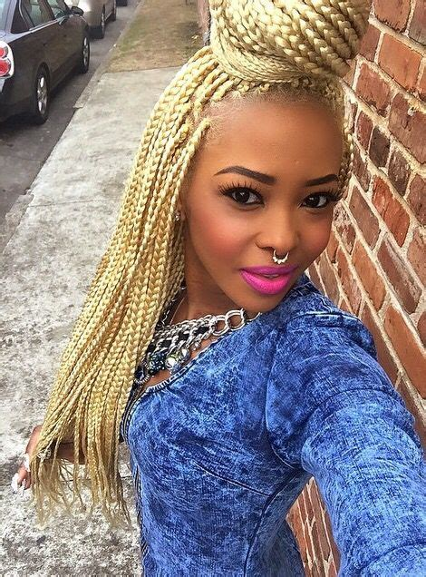 Blonde Box Braids Extensions Plaits Hair Hairstyle African