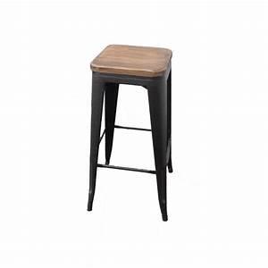 Chaise Bar Industriel : tabouret haut industriel en pin et fer noir ~ Farleysfitness.com Idées de Décoration