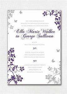 wedding invitation custom classic floral butterfly purple With wedding invitations gray and lavender