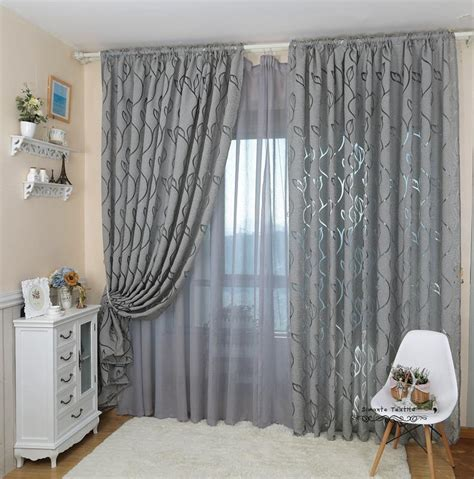 Living Room Curtain And Blind Ideas by Leaf Style Design Jacquard Curtain Blind For Window Living