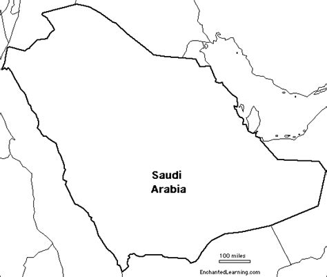 Outline Map Saudi Arabia - EnchantedLearning.com