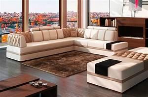 Canape Angle 6 7 Places : canap d 39 angle en cuir italien 6 7 places riva blanc et beige mobilier priv ~ Maxctalentgroup.com Avis de Voitures